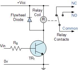 flywheel diode across relay coil