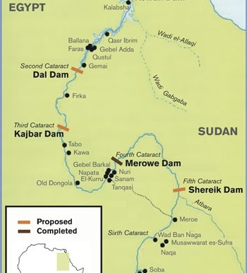 Image result for The Merowe Dam map