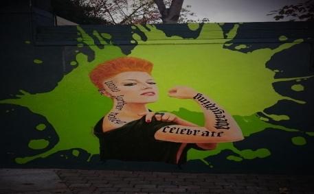 Wall artwork, Theatre Lane, Greystones, County Wicklow, by Dublin based artist Irina Kuksova www.irinakuksova.ie