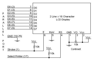 Parallel Port to 16 Character x 2 Line LCD Schematic