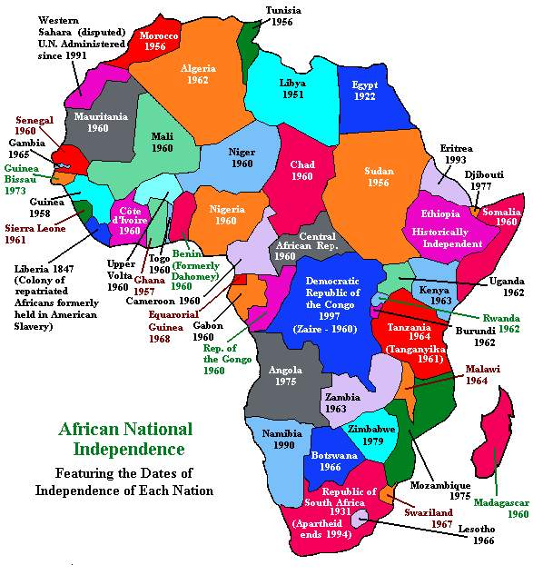 Map of the Independent Nations of Africa with Dates of Independence for Each Nation
