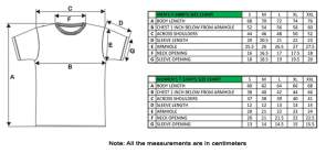 Image result for dimensions of t shirts