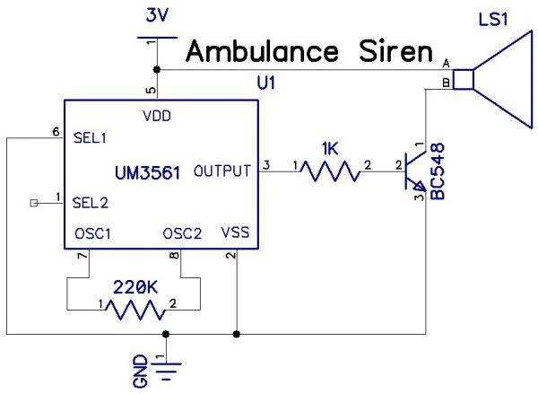 Ambulance Siren usingIC UM3561
