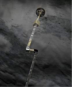 Figure 1: Artist view looking from the spacecraft down at the extended arm, and the sampling device during the descent to the surface.