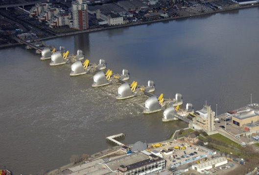 The Thames Barrier is one of the largest moveable flood barriers in the world