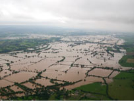 Aerial shot looking south from flooded Tewkesbury