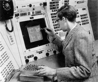 Ivan Sutherland using Sketchpad in 1962