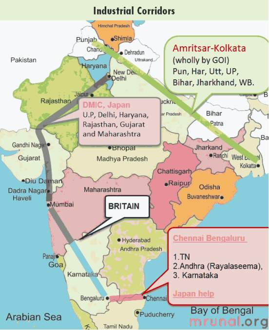 Map industrial corridors in India