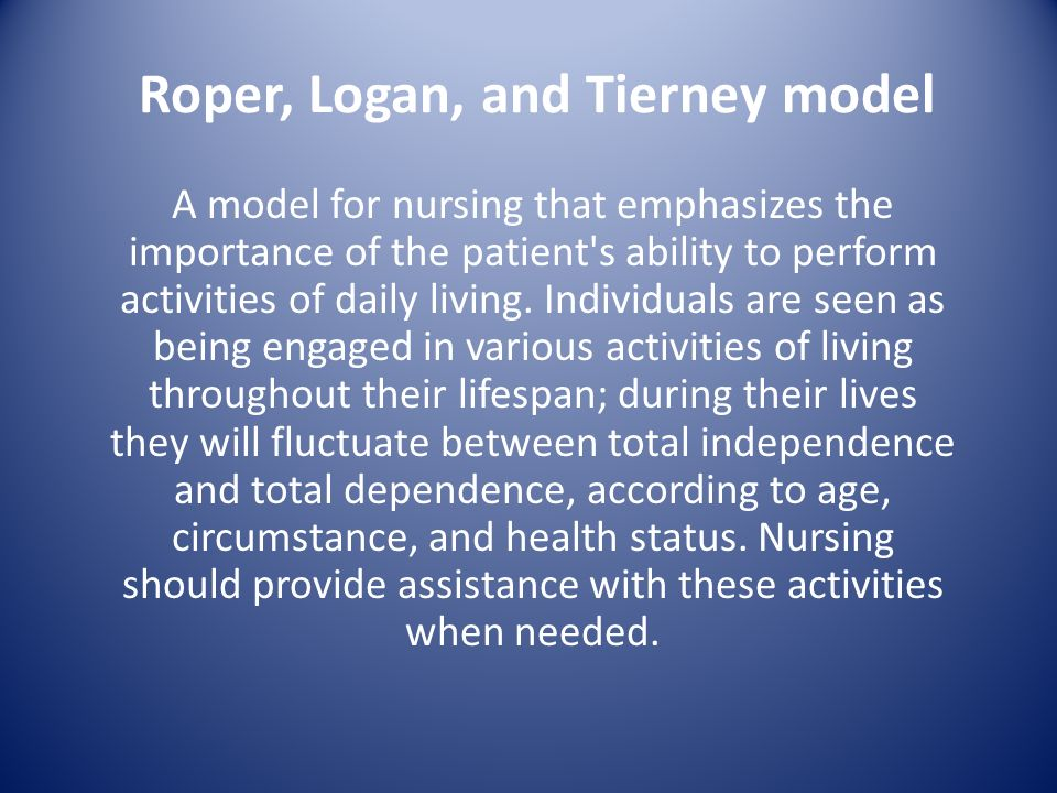 Image result for roper logan and tierney model of nursing
