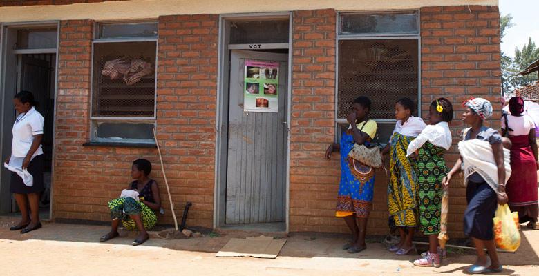 Women waiting outside clinic