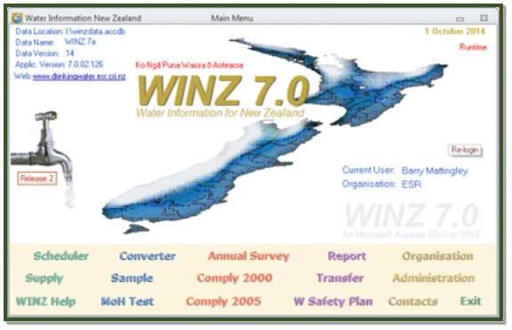 WINZ 7 Main screen