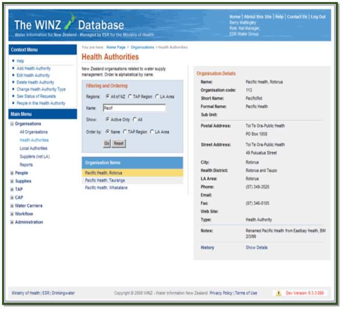 WINZ 6 Organisations example